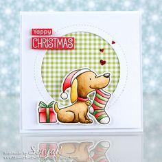 "Weihnachtskarte |Christmas card - My Favorite Things ""Happy Pawlidays"", ""Jumbo Peek-a-Boo Circle Window"", ""Tiny Check Paper Pad"", Mijello Mission Gold"