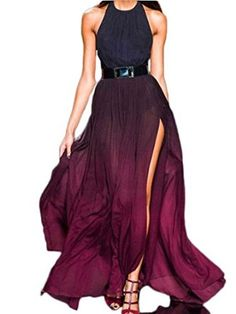 Persun Women's Purple Halter Fade Ruched Backless Maxi Dress: Amazon Fashion