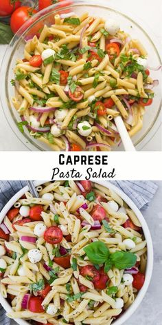 The traditional flavors of caprese, fresh mozzarella, basil, and tomato, are wonderfully represented in caprese pasta salad. Perfect for picnics, or a light summer dinner. Caprese Pasta Salad, Healthy Pasta Salad, Best Pasta Salad, Summer Pasta Salad, Healthy Salad Recipes, Salad Recipes For Dinner, Pasta Salad Recipes, Light Pasta Salads, Light Summer Dinners