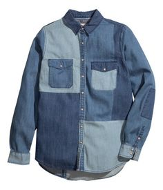 Denim patch shirt from HM.  #HM #fashion #style