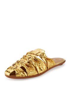 Capri+Woven+Snakeskin+Mule+Slide,+Gold+by+THE+ROW+at+Bergdorf+Goodman.