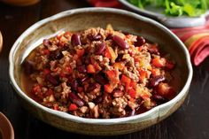 Sther This simple & tasty chilli con carne dish makes for great leftovers the next day. Mexican Food Recipes, Diet Recipes, Cooking Recipes, Healthy Recipes, Lamb Recipes, Savoury Recipes, Diabetic Recipes, Cooking Time, Chilli Con Carne Recipe