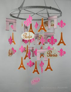 Parisian Chic Decorative Baby Mobile with Personalized Name by whimsicalaccents on Etsy. Perfect mobile for your nursery.