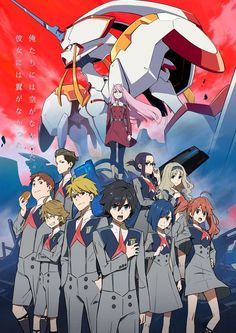 Tags: Tanaka Masayoshi, Official Art, Trigger (Studio), A-1 Pictures, Cover Image, Darling in the FranXX, Hiro (Darling in the FranXX), Zero Two (Darling in the FranXX), Strelizia, Futoshi (Darling in the FranXX), Gorou (Darling in the FranXX), Ichigo (Darling in the FranXX), Ikuno (Darling in the FranXX), Kokoro (Darling in the FranXX), Miku (Darling in the FranXX), Mitsuru (Darling in the FranXX), Zorome (Darling in the FranXX)