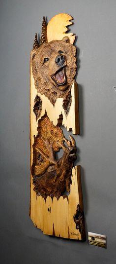 Osos y alces esculpido en madera madera tallado Arte por DavydovArt