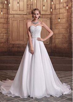 Elegant Organza Satin Sweetheart Neckline A-line Wedding Dresses with Beadings & Rhinestones US 4