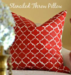 Did you know this pretty Moroccan  Trellis pattern was painted on the fabric? Full tutorial on www.whatsurhomestory.com