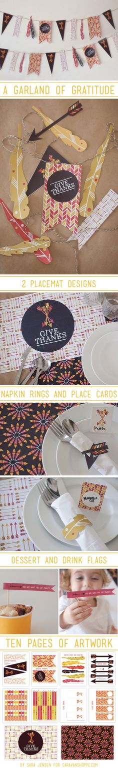 {thanksgiving} great DIY hostess gift: Printable Thanksgiving Dining Set from Sara Jensen Fall Crafts, Holiday Crafts, Holiday Fun, Thanksgiving Gifts, Thanksgiving Decorations, Celebrate Good Times, Banner, Give Thanks, Happy Fall