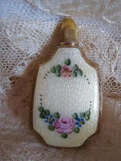 1920s Sterling Silver Gold Washed Guilloche Enameled Perfume Flask Yellow Pink