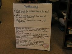 Synthesizing--with questions that aid in progression of thought. Comprehension Strategies, Reading Comprehension, Creative Teaching, Teaching Ideas, Teacher Observation, Reading Specialist, Reading Workshop, Writing Process, Boot Camp