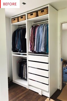 Hacking the IKEA Pax into a Fully Custom Closet - Erin Kestenbaum - Ikea DIY - The best IKEA hacks all in one place Closet Renovation, Ikea Pax Closet, Ikea Wardrobe, Ikea Closet Hack, Ikea, Apartment Closet Organization, Closet Apartment, Closet Design, Ikea Pax Wardrobe