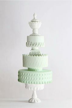 Mint green ombre wedding cake, inspired by Opal Glassware.