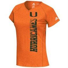 adidas Miami Hurricanes Women's Orange Football Sideline Her Sideline Vertical ClimaLITE T-Shirt