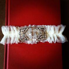 Bridal Garter: Art Deco Swarovski Rhinestone & Bugle Bead Applique with Double Layer Point d'Esprit. $52.00, via Etsy.