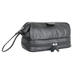 8bcadbe065 Carlucci Leather Toiletry Bag with Zip Drop Bottom - Black