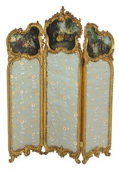 A LOUIS XV STYLE GILT WOOD THREE PANEL SCREEN 19th Century