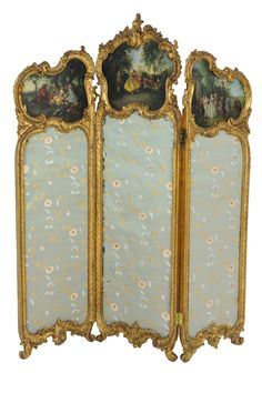 A LOUIS XV STYLE GILT WOOD THREE PANEL SCREEN 19th Century