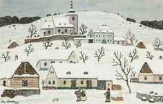 Winter Wonderlands by Josef Lada The Good Soldier Svejk, Naive Art, Christmas And New Year, Winter Wonderland, Illustrators, Folk Art, Retro, Czech Republic, Artwork