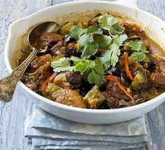 Slow-cooked aubergines become deliciously soft and absorb all the flavour of this fragrant Asian stew - I substituted the pork for red pepper Fodmap Recipes, Pork Recipes, Asian Recipes, Cooking Recipes, Slow Cooked Pork, Slow Cooker Beef, Pork Dishes, Tasty Dishes, Bbc Good Food Recipes