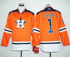 Astros #1 Carlos Correa Orange Long Sleeve Stitched MLB Jersey