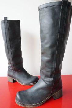 Bottes boots cavalieres cUIR LEATHER Petit talon Taille 36 excellent etat