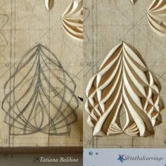 Chip carving by Tatiana Baldina – Chip Carving von Tatiana Baldina – Wood Carving Designs, Wood Carving Patterns, Wood Carving Art, Stone Carving, Wood Carvings, Wood Crafts, Diy And Crafts, Chip Carving, Woodworking Inspiration