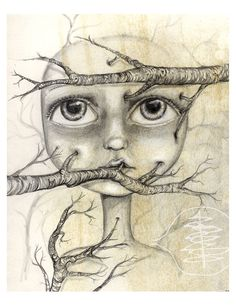 Tree Branches - Sketch - Girl  - 5x7 Print - Black And White - Forest