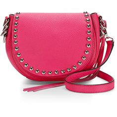 Rebecca Minkoff Unlined Saddle Bag (€260) ❤ liked on Polyvore featuring bags, handbags, shoulder bags, genuine leather shoulder bag, pink leather purse, genuine leather purse, rebecca minkoff shoulder bag and leather purse