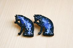 Cat space stars galaxy pattern badge brooch pin wooden wood painted gift present idea