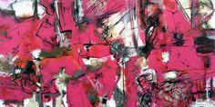 "abstract art: Rose Masterpol (US) ""PARIS PROTOCOL"" • Saatchi Art Artist • Acrylic on Canvas + Wood  • 36 H x 72 W x 2"" • sold"