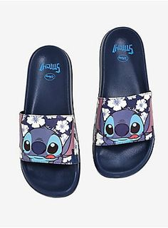 Lilo And Stitch Tees, Merchandise & More Disney Lilo & Stitch Tropical Slide Sandals - BoxLunch Exclusive, BLUE<br> Cute Disney Outfits, Disney Shoes, Cute Disney Stuff, Disney Painted Shoes, Disney Clothes, Disney Disney, Women's Shoes, Me Too Shoes, Sport Sandals