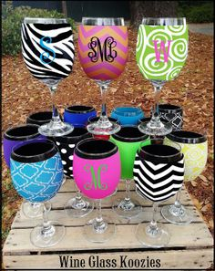 Drink..Pour..Repeat!Let's Have a Party! Our Neoprene Wine Glass Koozies also fits any 16, 18 & 24 oz Plastic Party Cups, Coffe Cups, beverage glasses etc.  Wine Glass included.