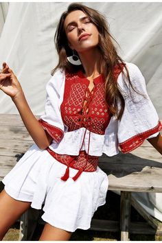 16738ab967a3 Embroidered Two Piece Set Top and Shorts