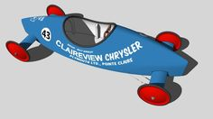 A 3D model of our family's 1968 Soap Box Derby racer, from Montreal, Canada. Repainted in 1969 and called The Red Baron, this racer won the best constructed car award at the 1968 Kinsmen Club of Montreal Coaster Classic, a non-franchise AASBD event. The car was raced for 5 years in rally events in Quebec and Ontario, Canada..