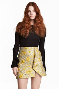Jacquard-weave skirt - Yellow/Patterned - Ladies | H&M CA