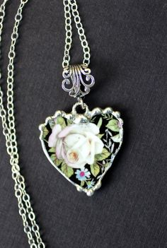Broken China Jewelry Heart Pendant Necklace Black Chintz With White Roses Sterling Silver Chain