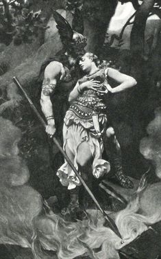 """Wotan takes leave of Brunhild"" by Konrad Dielitz"