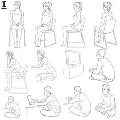 a character sitting. Whether you're lounging in a chair or sitting on the floor, there are a lot of ways to draw a character sitting! I'm a fan of curling up in a comfy armchair. Art from Drawing Manga: People and Poses. Day 7 of Sitting Pose Reference, Drawing Reference Poses, Drawing Poses, Drawing Sketches, Drawings, Manga Drawing, Human Figure Sketches, Figure Sketching, Figure Drawing