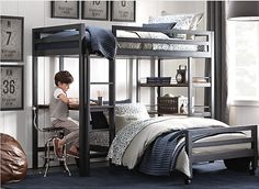 boy bunk beds with desk.