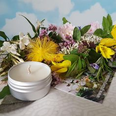 Floral candle collection. Natural vegan clean burn mini soy