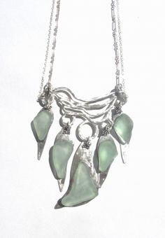 Sea glass and silver necklace
