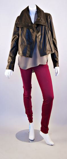 Vince Leather Jacket, Vince Blouse and J Brand Super Skinny Jean