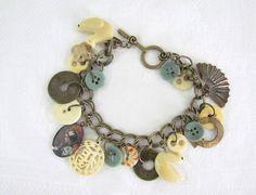 Vintage Charm and Button Handmade Bracelet - Bone Carved Birds - Coins