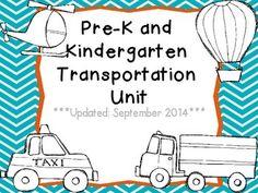 Pre-K & K Transportation Unit (from Kate, Fun in ECSE on TpT)