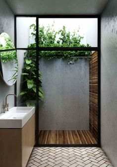 Outdoor Bathrooms 48132289756724935 - Considering a bathroom renovation? Bring the outdoors in and transform your bathroom into a stylish space with these affordable ideas using natural materials. Source by poshepoche Indoor Outdoor Bathroom, Outdoor Showers, Outdoor Baths, Indoor Outdoor Living, Indoor Garden, Indoor Plants, Outdoor Spaces, Natural Bathroom, Bathroom Interior Design