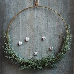 the little blob: Brass ring with cypress and frost stars, ring . the little blob: Brass ring with cypress and frost stars, ring as a wreath, minimalist wreathUpdated Christmas wreath Martha Stewart Decembe. Bohemian Christmas, Natural Christmas, Black Christmas, Cozy Christmas, Simple Christmas, Christmas Wreaths, Christmas Crafts, Xmas Lights, Handmade Christmas Decorations
