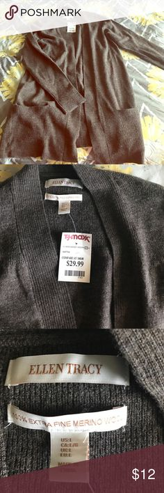 100% merino wool long cardigan. Brand new. New with tags! Never worn! Great for fall or spring! Ellen Tracy Sweaters Cardigans