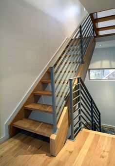 modern metal railings with wood - Google Search