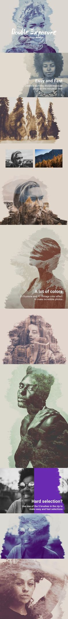 Double Exposure Photoshop Action - Photo Effects Actions Double Exposure Photography Tutorial, Photography Tutorials, Photography Tips, Double Exposure Photoshop Action, Multiple Exposure, Effects Photoshop, Photoshop Actions, Adobe Photoshop, Blood Donation Posters