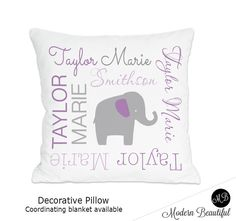Elephant Name pillow in purple and gray for by ModernBeautiful